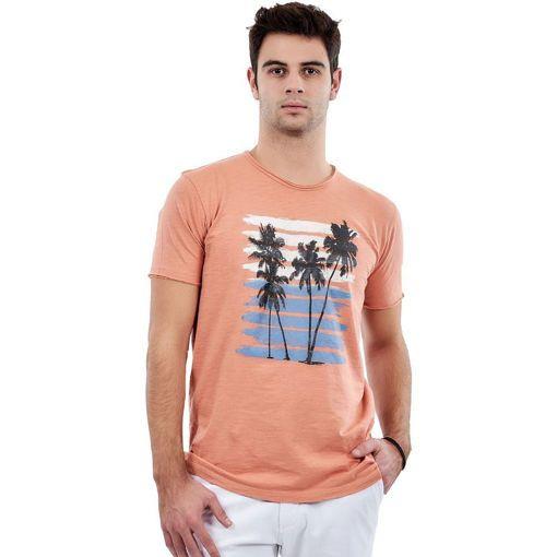 "T-Shirt Garment Wash Orange ""Palm Trees"""