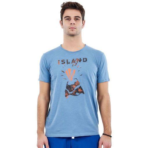 "T-Shirt Garment Wash Blue ""Volcano"""