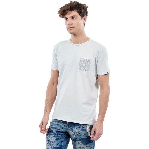 """Ανδρικό T-shirt """"Plaid Pocket"""" Battery Ανοιχτό Γκρι"""