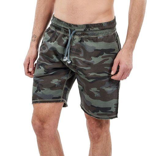 Bermudas, French Terry Garment Dyed Khaki ''Camouflage''