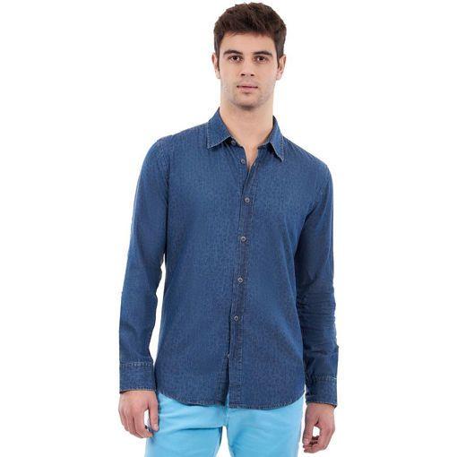 Ανδρικό τζιν μακρυμάνικο πουκάμισο