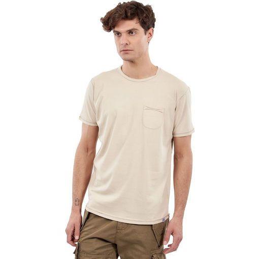 """Ανδρικό T-Shirt  """"Pocket On Chest"""" Greenwood Μπεζ"""