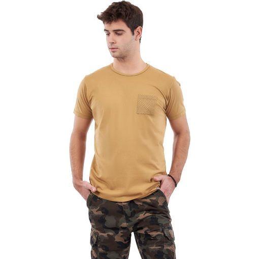 "T-Shirt Garment Dyed Ochra ""Rhombus Pocket"""