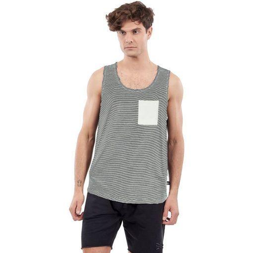 """Ανδρικό Αμάνικο T-Shirt """"Striped"""" Greenwood Off White"""
