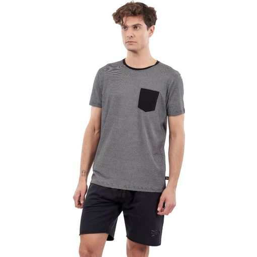 "T-Shirt Garment Wash Black ""Stripes"""