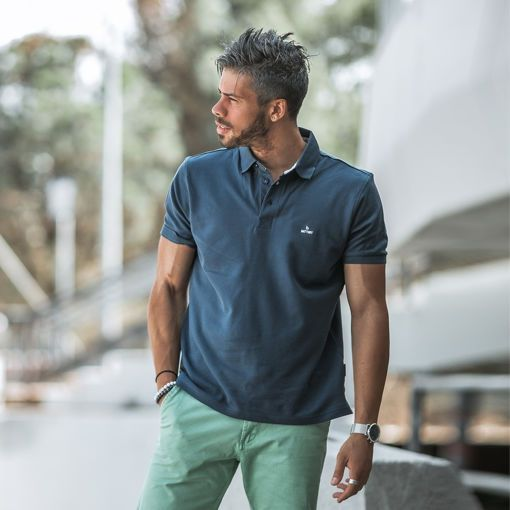 Oxford Polo Pique Navy Combed