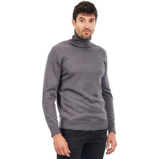 Ανδρική πλεκτή μπλούζα ζιβάγκο Γκρί σκούρο