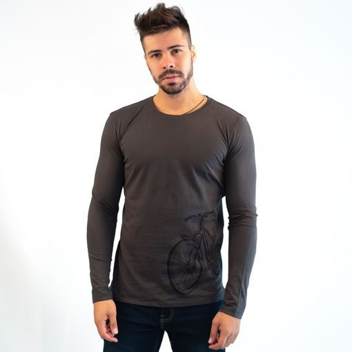 Ανδρική Μπλούζα Μακρυμάνικη Βαμβακερή Ανθρακί με Στάμπα