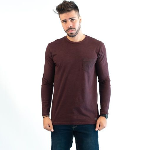 Ανδρική Μπλούζα Μακρυμάνικη Βαμβακερή Σκούρο Μωβ με Ρίγα και Τσέπη