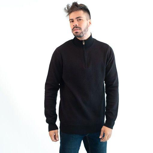 Ανδρική Πλεκτή Μπλούζα Half Zip Greenwood Μαύρη