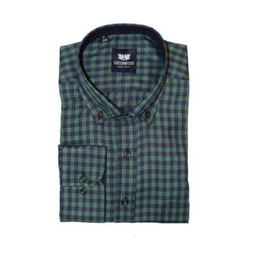 Ανδρικό καρό μακρυμάνικο πουκάμισο Greenwood Green