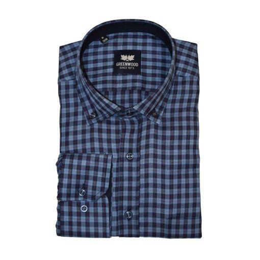 Ανδρικό καρό μακρυμάνικο πουκάμισο Greenwood Blue