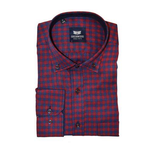 Ανδρικό καρό μακρυμάνικο πουκάμισο Greenwood  Red