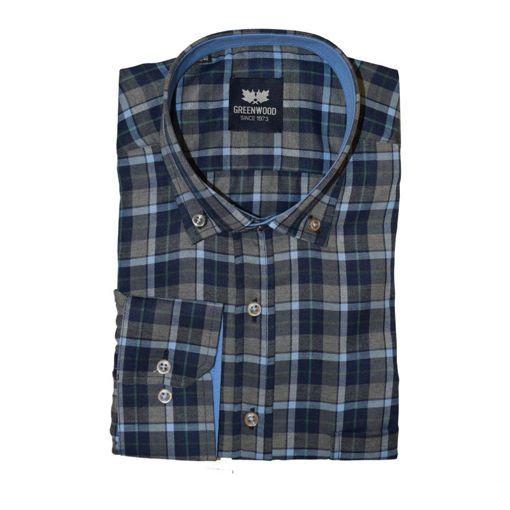Ανδρικό καρό μακρυμάνικο πουκάμισο Greenwood Grey