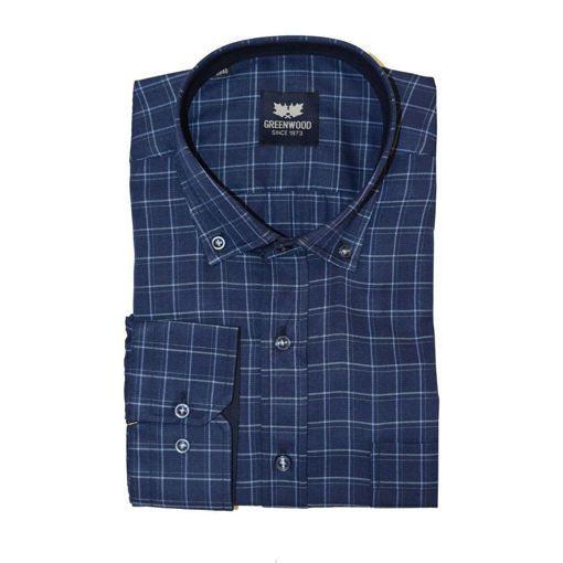 Ανδρικό καρό μακρυμάνικο πουκάμισο Greenwood Sky Blue