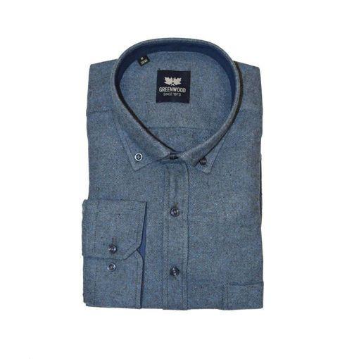 Ανδρικό μονόχρωμο μακρυμάνικο πουκάμισο Greenwood Blue