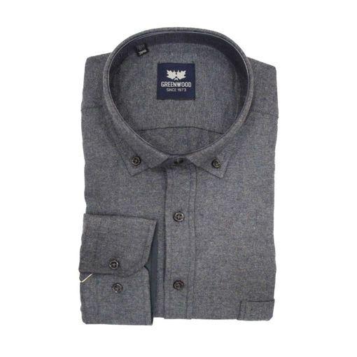 Ανδρικό μονόχρωμο μακρυμάνικο πουκάμισο Greenwood Dark Grey
