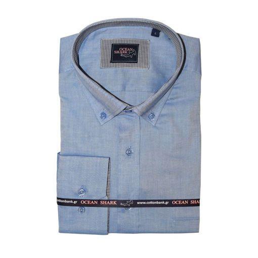 Ανδρικό Oxford πουκάμισο Ocean Shark  100% Cotton Button Down Collar - Indigo