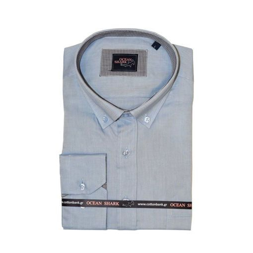 Ανδρικό Oxford πουκάμισο Ocean Shark  100% Cotton Button Down Collar - Sky Blue