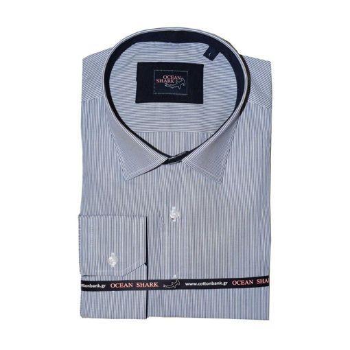 Ανδρικό ριγέ πουκάμισο Ocean Shark 100% Cotton - Navy
