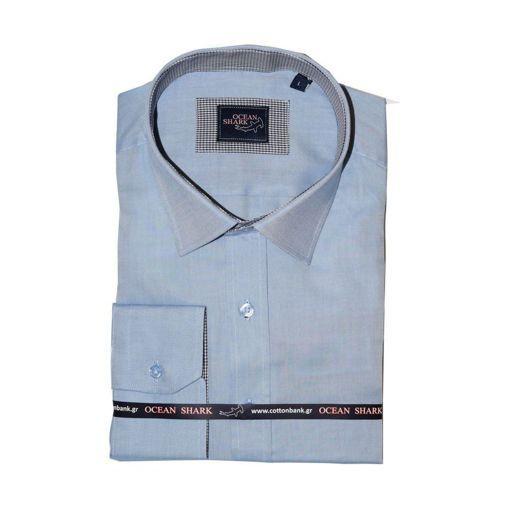 Ανδρικό Oxford πουκάμισο Ocean Shark  100% Cotton Classic Collar - Sky Blue