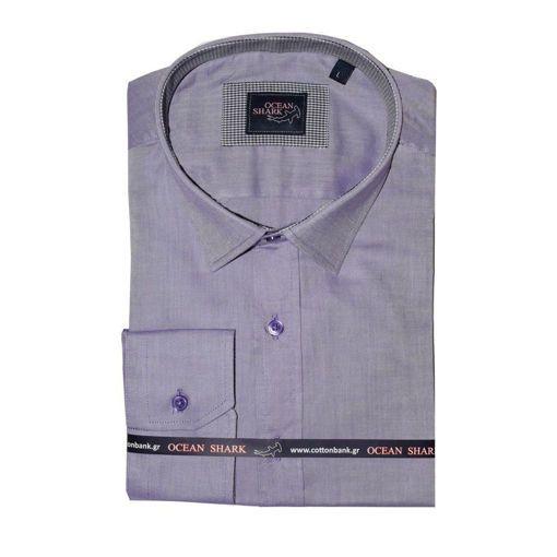 Ανδρικό Oxford πουκάμισο Ocean Shark  100% Cotton Classic Collar - Mauve