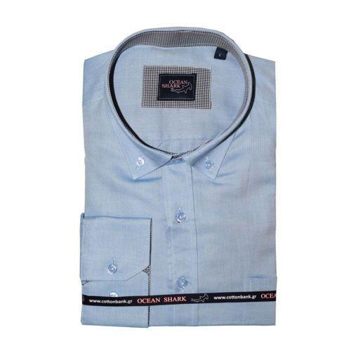 Ανδρικό Oxford πουκάμισο Ocean Shark  100% Cotton Button Down Collar - Blue